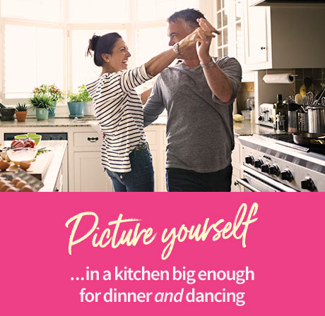 Picture yourself ...in a kitchen big enough for dinner and dancing